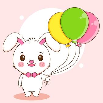 Karikaturillustration des netten kaninchens, das ballone hält