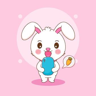 Karikaturillustration des netten kaninchens, das karotte mit smartphone bestellt