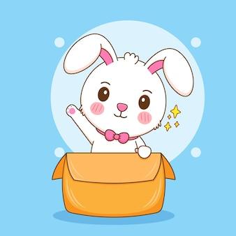Karikaturillustration des netten kaninchens innerhalb des kastens