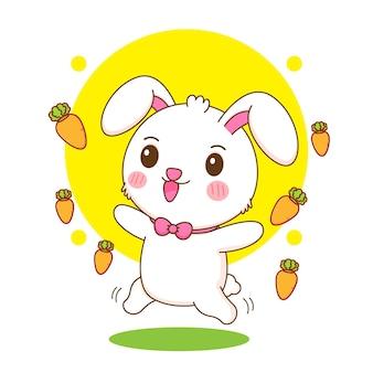 Karikaturillustration des netten kaninchens mit karotten herum