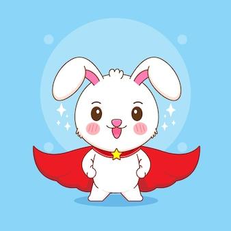 Karikaturillustration des netten kaninchens mit rotem umhang als superheld