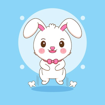Karikaturillustration des netten kaninchenspringens
