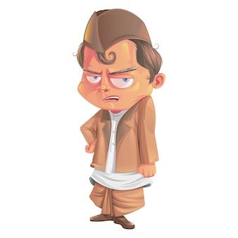 Karikaturillustration des netten mannes.