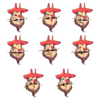 Karikaturillustration des netten piratengesichtssatzes.