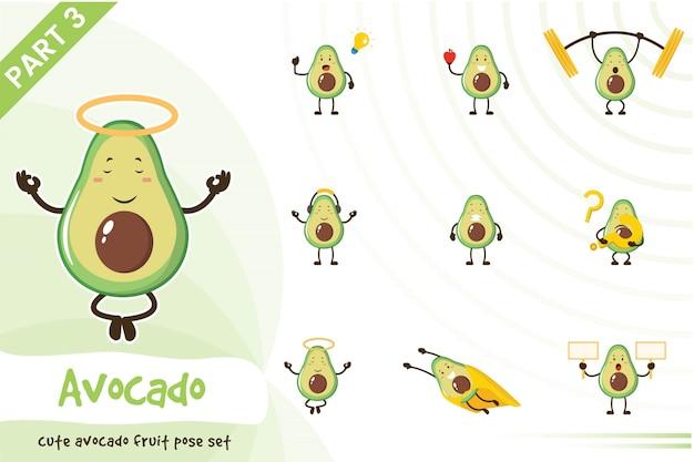 Karikaturillustration des niedlichen avocadofruchtsatzes
