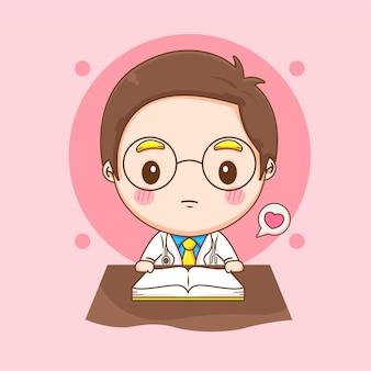 Karikaturillustration des niedlichen doktorcharakters, der ein buch liest