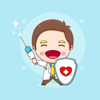 Karikaturillustration des niedlichen doktorcharakters, der schild und injektion hält