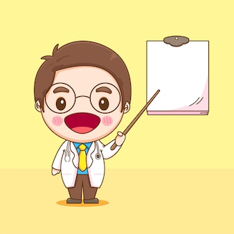 Karikaturillustration des niedlichen doktorcharakters der stock zeigte auf das leere papier