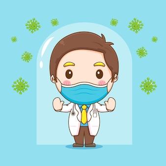 Karikaturillustration des niedlichen doktorcharakters kämpft gegen vom virus