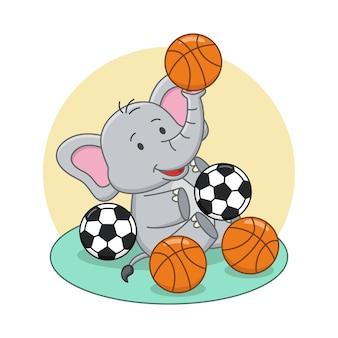 Karikaturillustration des niedlichen elefanten, der ball spielt