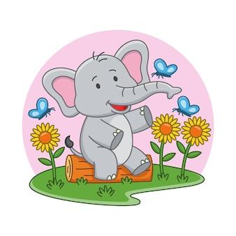 Karikaturillustration des niedlichen elefanten, der mit schmetterlingen spielt