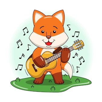 Karikaturillustration des niedlichen fuchses, der gitarre spielt