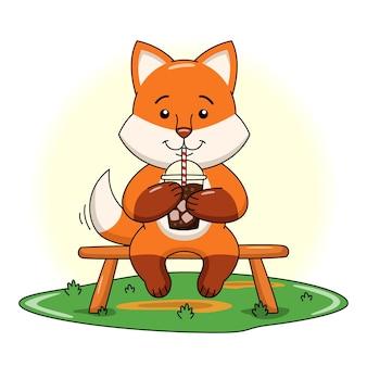Karikaturillustration des niedlichen fuchses, der kaltes schokoladengetränk trinkt
