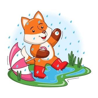 Karikaturillustration des niedlichen fuchses, der mit regentropfen spielt