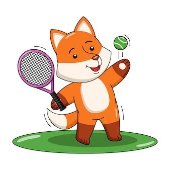 Karikaturillustration des niedlichen fuchses, der tennissport spielt