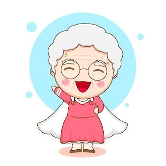 Karikaturillustration des niedlichen großmuttercharakters als superheld