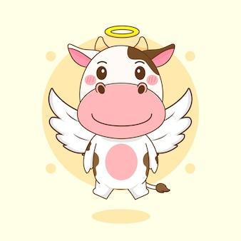 Karikaturillustration des niedlichen kuhcharakters als engel