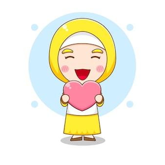 Karikaturillustration des niedlichen muslimischen frauencharakters, der liebe hält