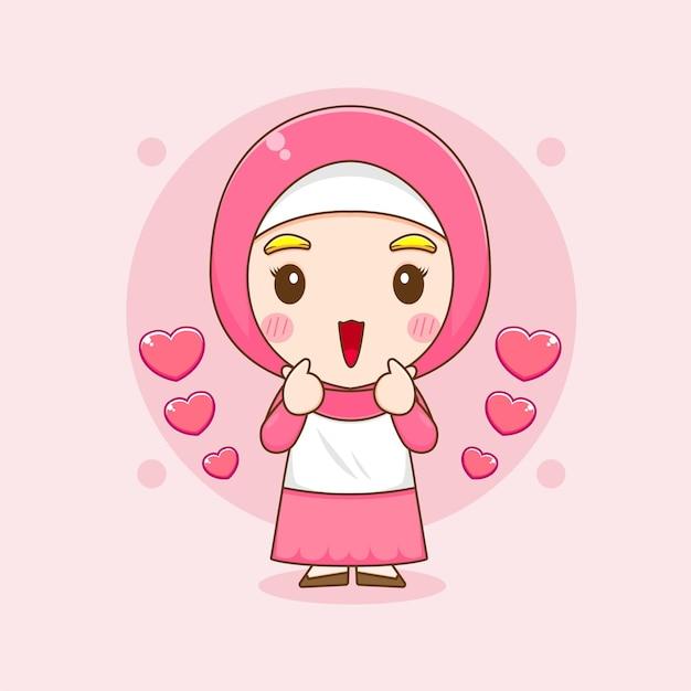 Karikaturillustration des niedlichen muslimischen frauencharakters, der liebesfinger aufwirft
