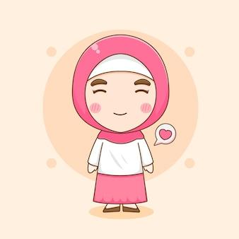 Karikaturillustration des niedlichen muslimischen frauencharakters