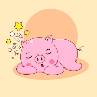 Karikaturillustration des niedlichen schweincharakters schlafend
