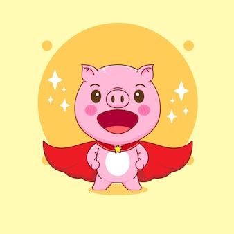Karikaturillustration des niedlichen schweinecharakters mit umhang als superheld
