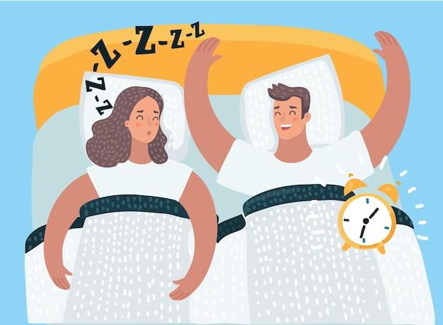 Karikaturillustration des paares, das zusammen im bett schläft