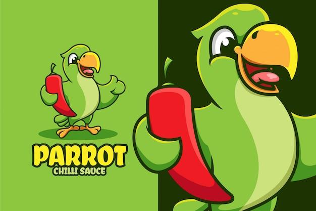 Karikaturillustration des papageien, der chili hält