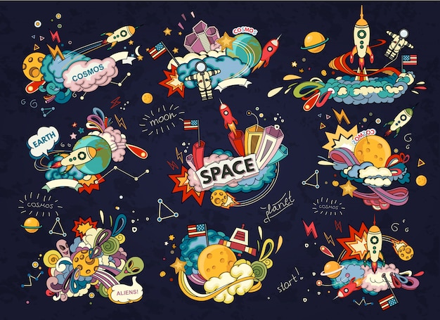 Karikaturillustration des raumes. mond, planet, rakete, erde, kosmonaut, komet, universum.