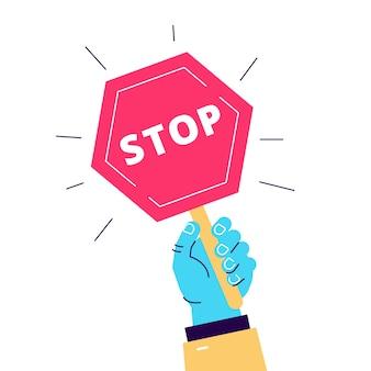 Karikaturillustration des straßenschildstopps halten in der hand. objekt auf weiß