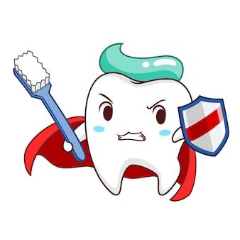 Karikaturillustration des superheldzahns, der schild und zahnbürste hält.