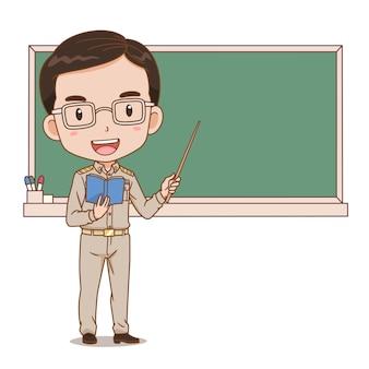 Karikaturillustration des thailändischen männlichen lehrers, der einen stock vor tafel hält.