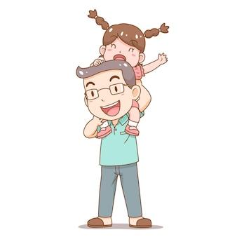 Karikaturillustration des vatertags-vaters, der tochter auf seinen schultern trägt