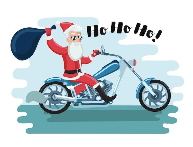 Karikaturillustration des weihnachtsmann-motorradfahrers in sonnenblasen