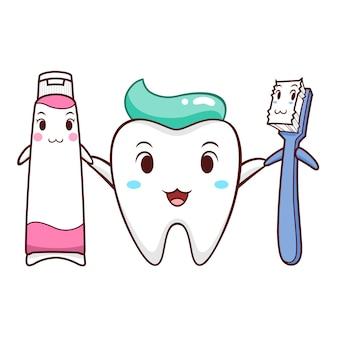 Karikaturillustration des zahnes, der zahnbürste und der zahnpasta.