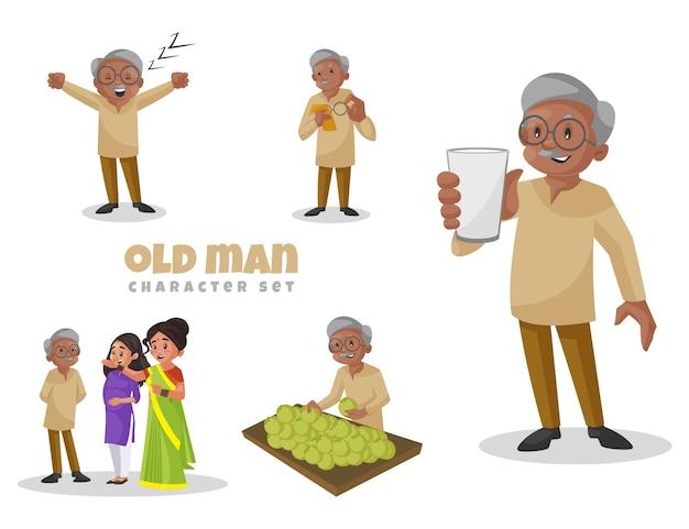 Karikaturillustration des zeichensatzes des alten mannes