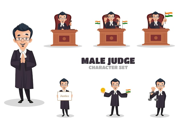 Karikaturillustration des zeichensatzes des männlichen richters