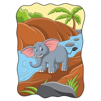 Karikaturillustration ein elefant, der durch den fluss im wald geht