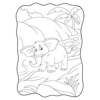Karikaturillustration ein elefant, der im waldbuch oder auf der seite für kinder am fluss spazieren geht, schwarz und weiß