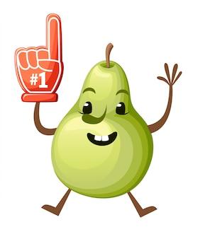 Karikaturillustration einer birne. süßes birnenmaskottchen. springende frucht mit schaumhand nummer 1. illustration auf weißem hintergrund. website-seite und mobile app