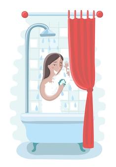 Karikaturillustration einer frau, die eine dusche im badezimmer nimmt