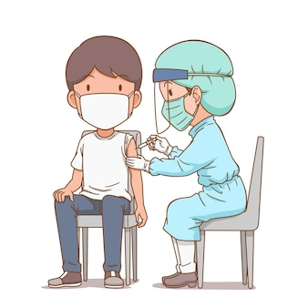 Karikaturillustration einer krankenschwester, die einem mann eine injektion gibt
