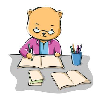Karikaturillustration einer niedlichen schriftstellerkatze