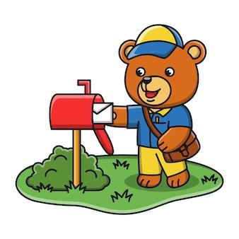 Karikaturillustration eines bären, der als postbote arbeitet