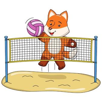 Karikaturillustration eines fuchses, der volleyball spielt