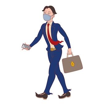 Karikaturillustration eines geschäftsmannes, der eine gesichtsmaske trägt