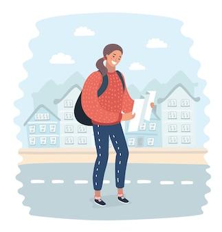 Karikaturillustration eines mädchens mit rucksack