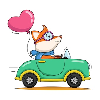 Karikaturillustration eines netten fuchses, der ein auto fährt