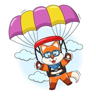 Karikaturillustration eines netten fuchses, der mit einem fallschirm fliegt