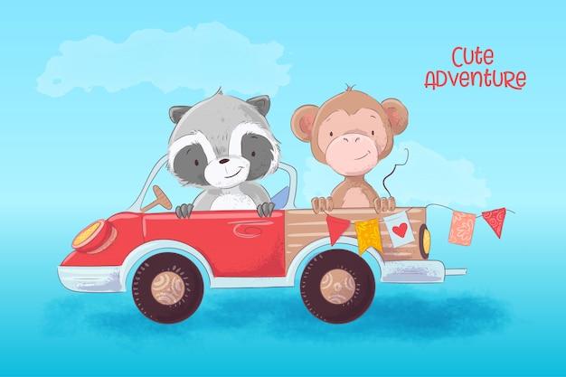 Karikaturillustration eines netten waschbären und des affen auf einem lkw